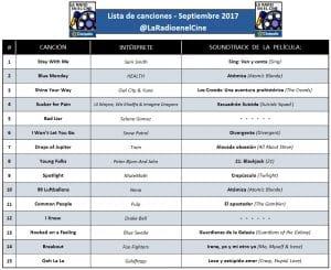 Playlist - Septiembre 2017.