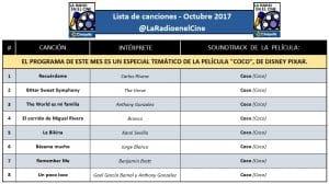 """Playlist - Octubre 2017 - Especial """"Coco""""."""